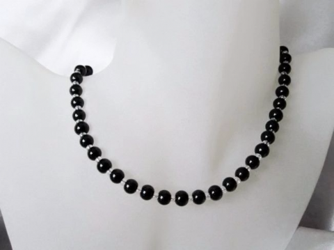 Black Onyx & Clear Glass Beads Necklace